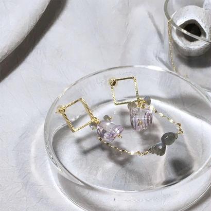 Square bli - Pierced Earrings - Pink Amethyst