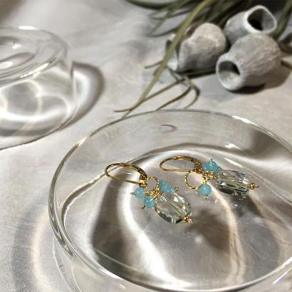 Clear Eme - Pierced Earrings and Earrings - Green Amethyst, Sea blue
