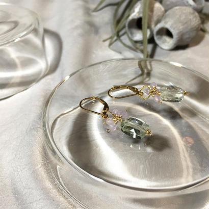 Clear Eme - Pierced Earrings and Earrings - Green Amethyst, LV