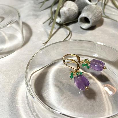 Clear Eme - Pierced Earrings and Earrings - Amethyst, Green