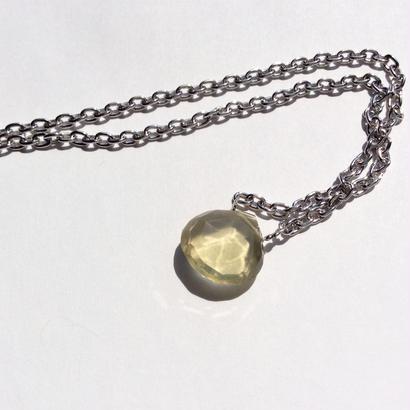 Lemon quartz silver chain Necklace
