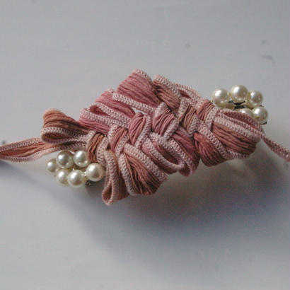 Silk ribbon barrette  antique rose