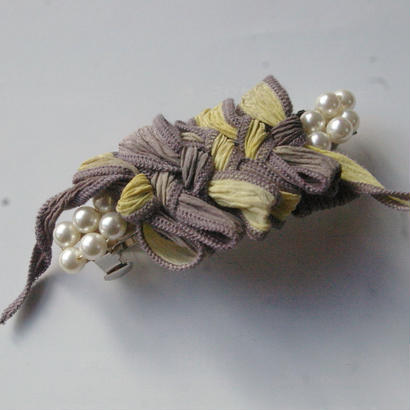 Silk ribbon Barrette  lemonquartz