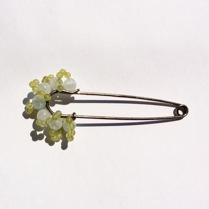Brooch Pin  fluorite×olive jade