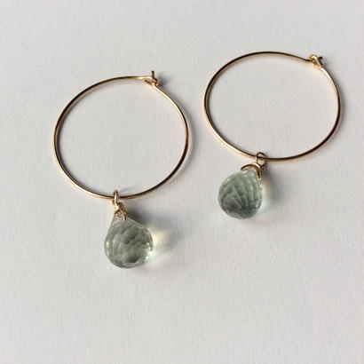 Green amethyst hoop Pierce