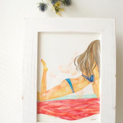 青い水着の女の子 / 原画   (blue bikini girl / original paint)