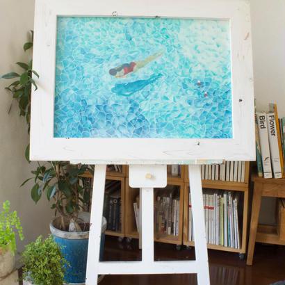 カモメと過ごした夏の1日/ 原画 (swiming with seagull / original paint)