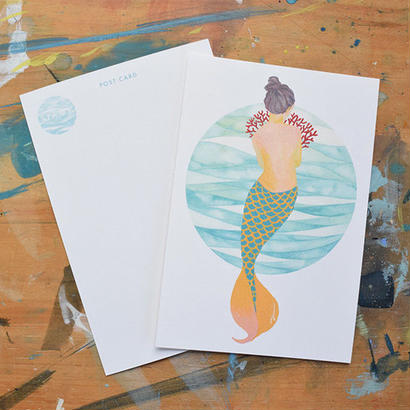 "post card ""shy mermaid"""