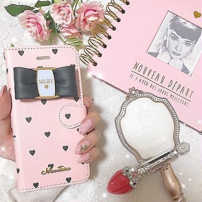 【リボン付き】Pink×BlackHeart♡【手帳型】