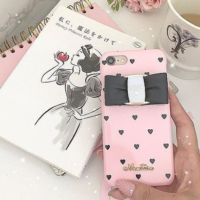 【リボン付き】Pink×BlackHeart♡【ハードケース】