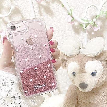 【ネーム入り】Mini White Heart♡ミニホワイトハート【ピンクグリッターケース】