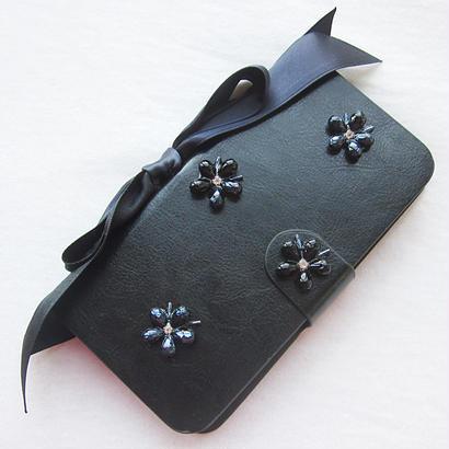 Hime. フラワービジューサテンリボン手帳型スライド式ケース