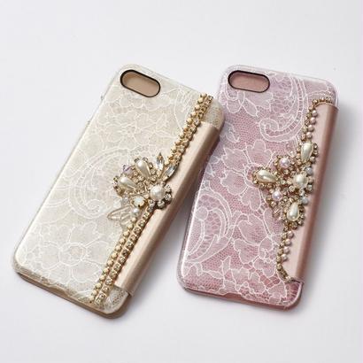 Hime.フランス製リバーレースビジュー手帳型iphone6/7ケース