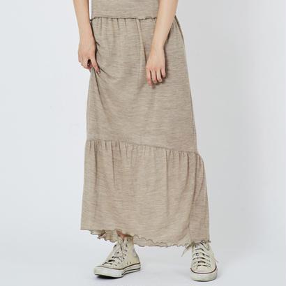 ウールガーゼギャザー切り替えマキシスカート(beige)