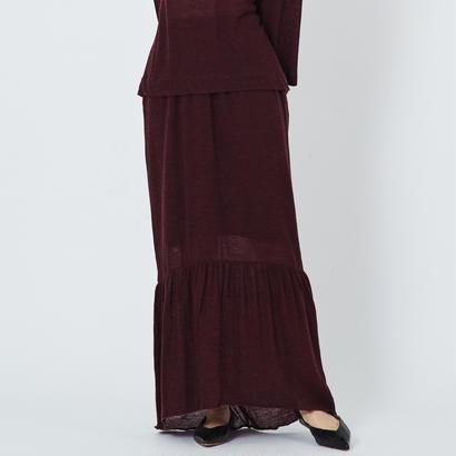 ウールガーゼギャザー切り替えマキシスカート(burgundy)