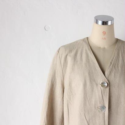 リネンノーカラージャケット [2101b]