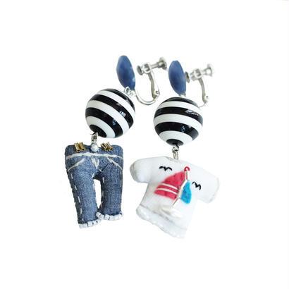 T-shirt(yacht)×Jeans Earrings