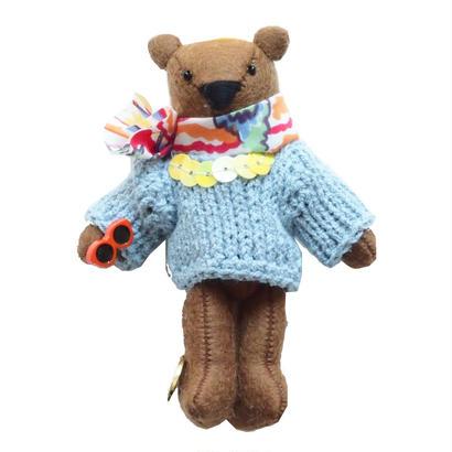 Teddy Bear Necklace-Light Blue Sweater-