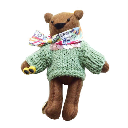 Teddy Bear Necklace-Green Sweater-