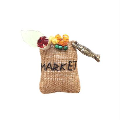 Miniature Grocery Bag Brooch