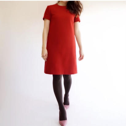 melton wool half sleeve dress(rose petal・powder blue・deep noir)