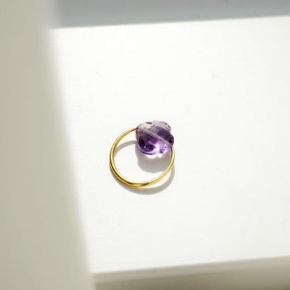 flower shape amethyst ring
