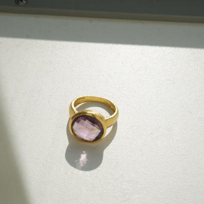 mat gold amethyst ring