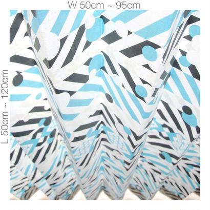 "【ORDER CURTAINS】オーダーカーテン(遮光裏地付):""羽根""ブルー 巾 50cm~ 95cm ・ 丈 50cm~120cm(1枚)"