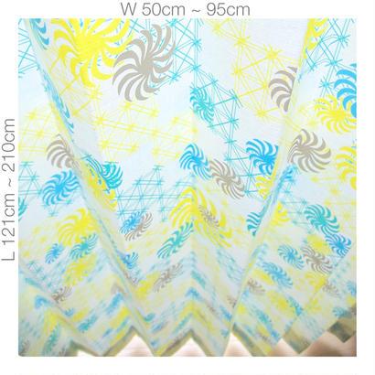 """【ORDER CURTAINS】オーダーカーテン(遮光裏地付):""""風車""""グリーン 巾 50cm~ 95cm ・ 丈 121cm~210cm(1枚)"""