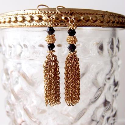 tassel pierce〈swarovski beads/bk〉PIF160105