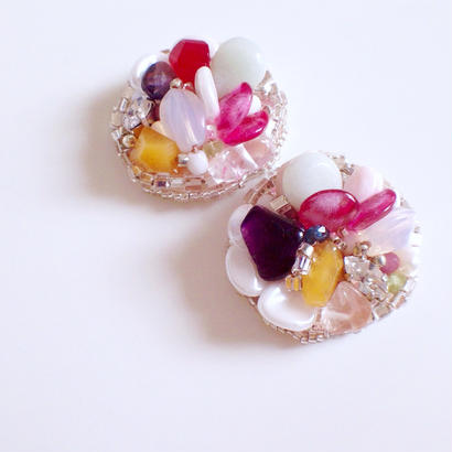 circle earrings〈fancy cake 〉EA160206