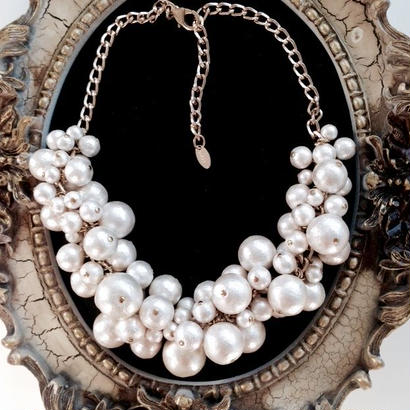 white cotton pearl necklace NE160102