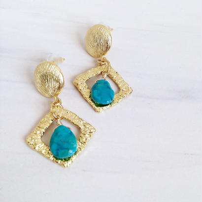 turquoise×square pierce PI160108