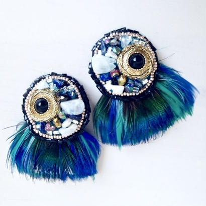 feather earrings〈peafowl〉 EA160105F-PF