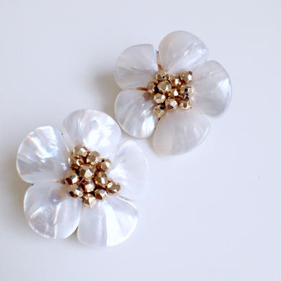 shell  flower earrings〈GD〉EA160202
