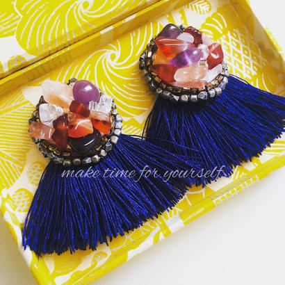 circle earring tassel BL  EA170201