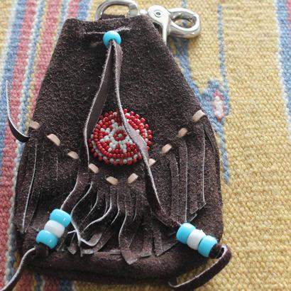 *ネイティブインディアンスエードフリンジビーズ刺繍ポーチ