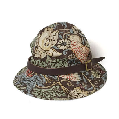 【HACHIGAHANA】william morris wild glass hat (ウィリアム モリス ワイルドグラスハット)  -BROWN-