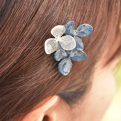アジサイの髪飾り&ブローチ【藍染】