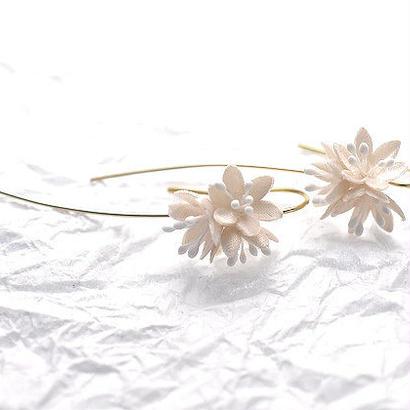 【布花】春の森 ショウジョウバカマのピアス/イヤリング(白花) 14kgf