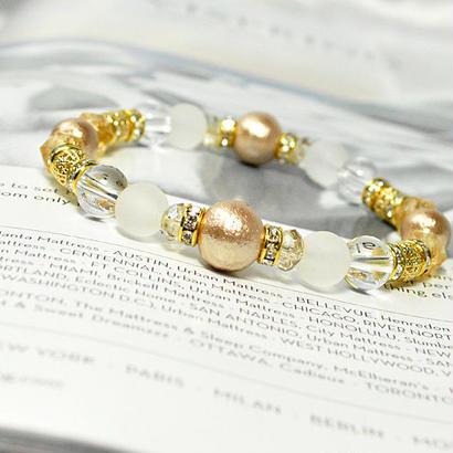 コットンパールベージュ、フロスト水晶、水晶、スターカットシトリン、イエローオーラカット平珠、ロンデル金具、透かし金具