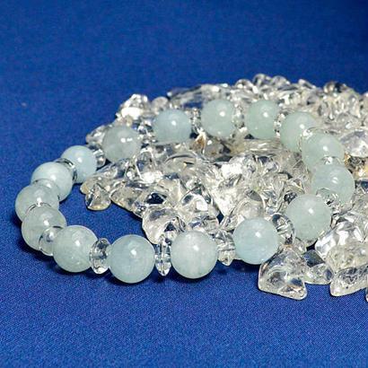 インド産アクアマリン・水晶AAAAA ブレスレット