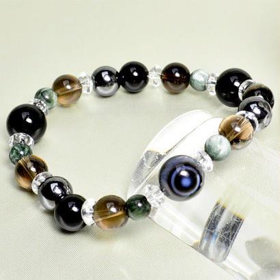 オニキス、天眼石、 スモーキークォーツ、 ヘマタイト、 セラフィナイト、 平珠水晶
