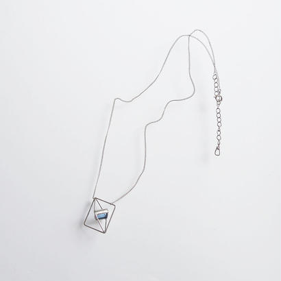 square necklace/light blue