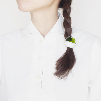 hair accessory hexagon/white×clear light green