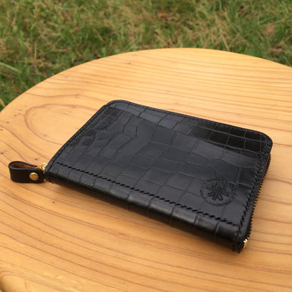 クロコ型押し 小型ファスナー財布