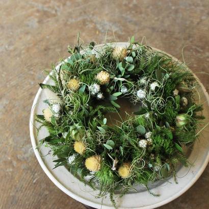野の花屋ナチュラルリース  ~ グリーンと白のセンニチコウ~