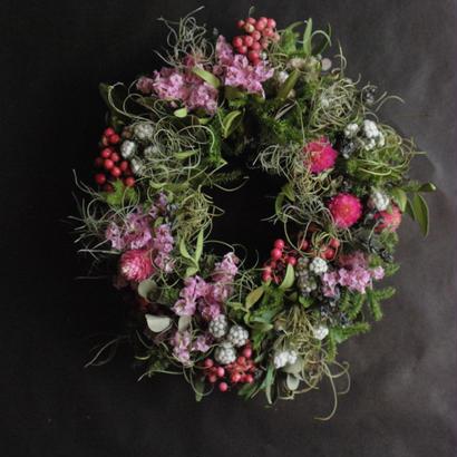 野の花屋 ピンクのオーバルリース