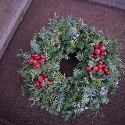 野の花屋 サンキライのクリスマスリース