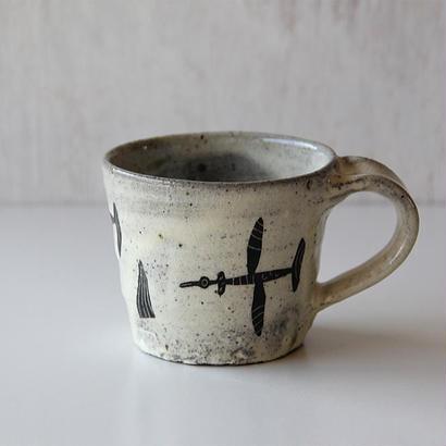清水しおり 黒絵マグカップ(no.5)